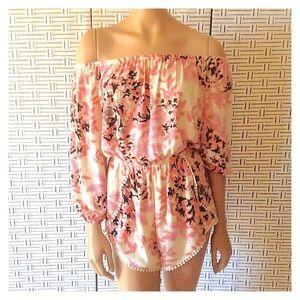Audrey 3+1 Off Shoulder Pink Floral Romper